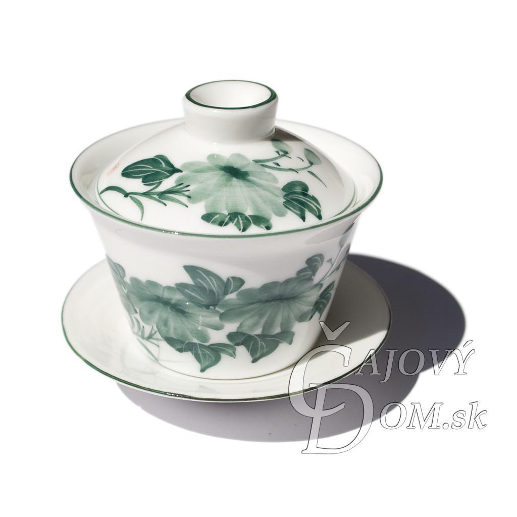 Zhong porcelánový biely - zelená maľba B