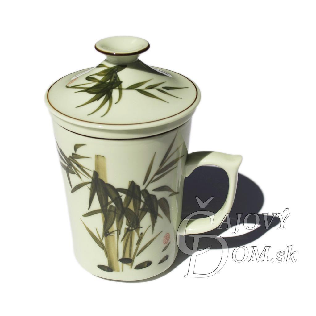 Porcelánový hrnček so sítkom - Zelený maľovaný - bambus