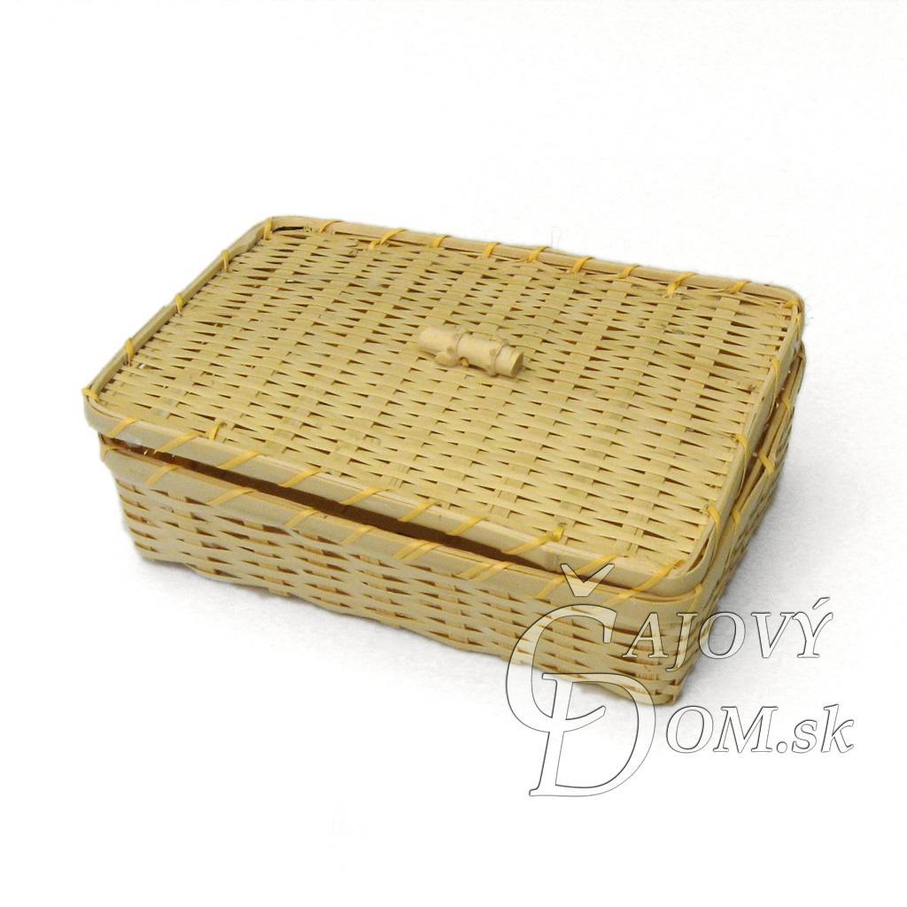 Krabička 16x8cm - svetlá bambusová s vrchnákom