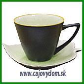 Šálka s tanierikom - zelený list