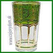 Sklenený pohár na arabské čaje - zelený vzor malý