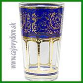 Sklenený pohár na arabské čaje - modrý vzor malý