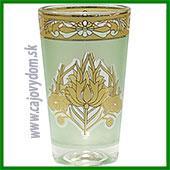 Sklenený pohár na arabské čaje - zelený vzor matný malý