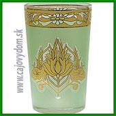 Sklenený pohár na arabské čaje - zelený vzor matný veľký