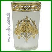 Sklenený pohár na arabské čaje - biely vzor matný veľký