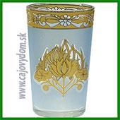 Sklenený pohár na arabské čaje - modrý vzor matný veľký