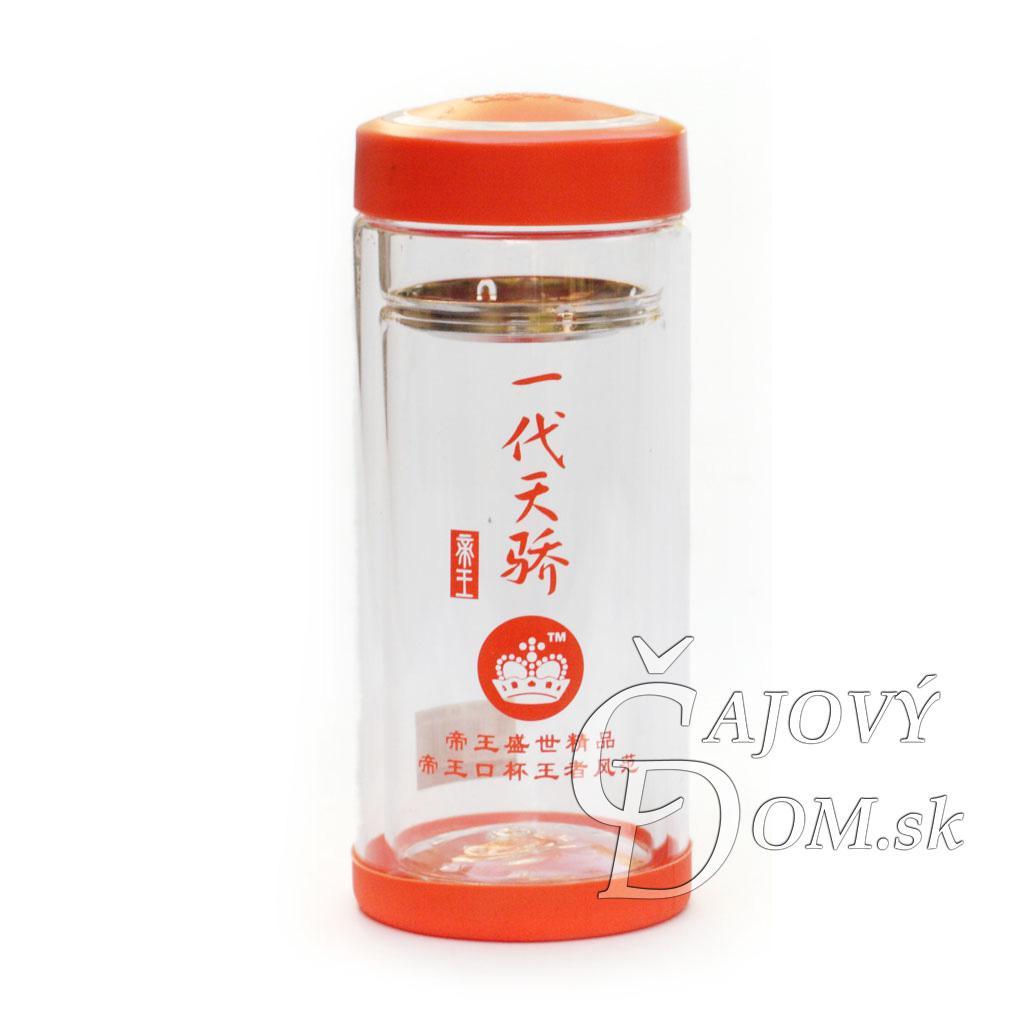 Zavarovačka na čaj sklenená - oranžové prúžky