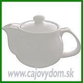 Konvička na čaj - biela s kovovým sítkom