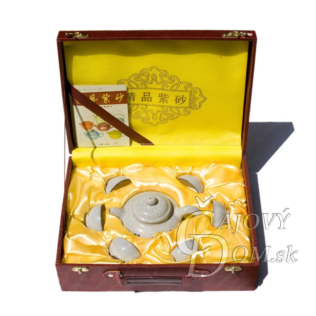 7 dielna súprava yixing - biela praskaná glazúra