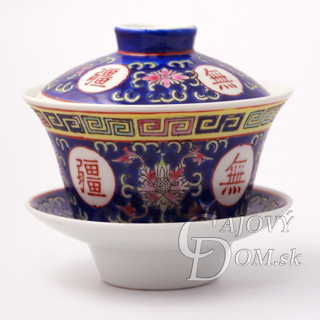 Zhong porcelánový znaky dlhovekosti - modrý